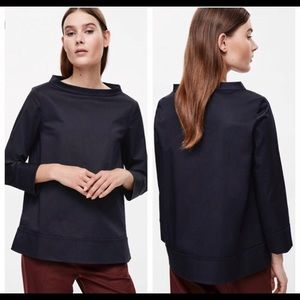 COS Wide Neck Navy 3/4 Sleeve Shirt Boxy Size 10 M